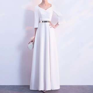 White long sleeve Dress / evening gown