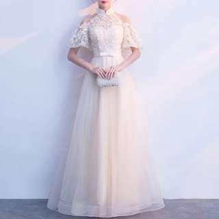 Champaign cold shoulder floral dress / evening gown / Wedding Dress