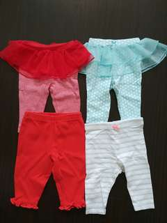 Lot of 4 baby leggings 0-3 months from Carter's and Mothercare