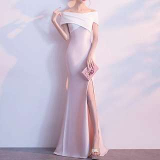 Dual tone white pink off shoulder dress / evening gown / Bridesmaid Dress