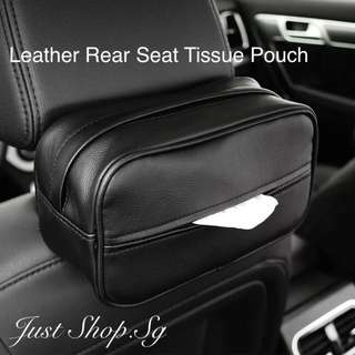 Leather Car Rear Seat Tissue Pouch