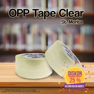 ST. MORITA - OPP TAPE 45 mic - LAKBAN 48 mm x 65 m -Transparent/Clear