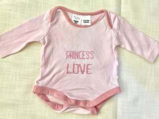 Charity Sale! Blush Pink Onesie Little Princess Onesie Size Newborn to 3 Months