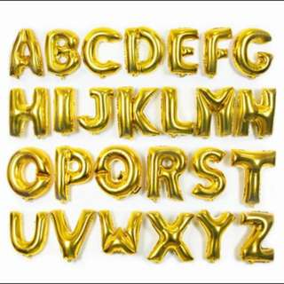 16 inch letters and numbers gold balloon