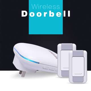 Wireless Door Bell 1 Plug in Receiver DoorBell 2 Remote Ring Push Buttons With 36 Chime Kit IP55 Waterproof