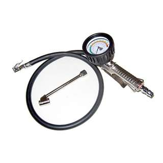 Tyre Inflator with 6cm Dial Gauge c\w Click -On & Twin Hold-On Chuck   Professional Top Quality Tyre Inflator Gauge that performs 3 functions  . Suitable for fleet workshops use on Motorcycle, Cars & Commercial Vehicles