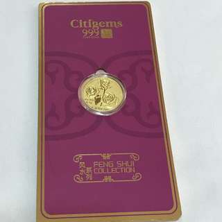 {Collectibles Item - Pure Gold} 金是永恆999(24K) 0.1g Pure Gold 純金时代 Citigems 福 FENG SHUI COLLECTION 风水系列