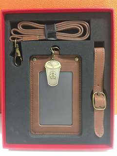 Starbucks lanyard and cardholder in leather