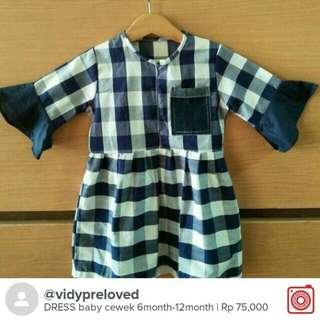 Dress Bayi Kotak 6-12bulan