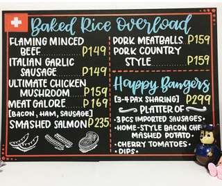 Menu Boards (Faux chalkboard art)