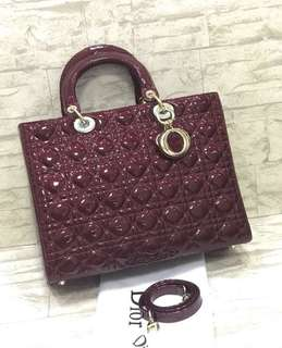 lady dior large red patent shw mirror replica bag