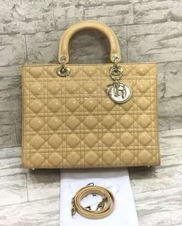 lady dior large patent mirror replica bag