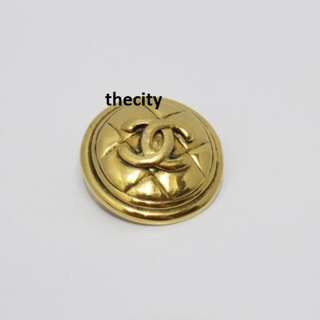 AUTHENTIC CHANEL VINTAGE CC LOGO  GOLD COLORED BROOCH