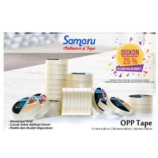 SAMARU TAPE - OPP TAPE 43 mic - LAKBAN 45 mm x 50 m-Transparent/Clear