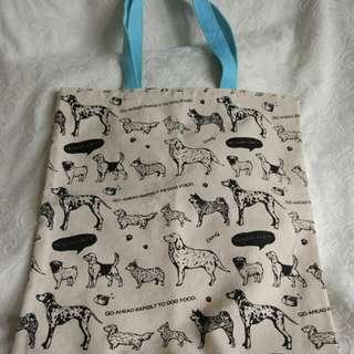 狗狗圖案中帆布袋 size14.5*x15.5吋