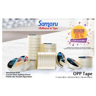 SAMARU TAPE - OPP TAPE 43 mic - LAKBAN 24 mm x 50 m-Transparent/Clear