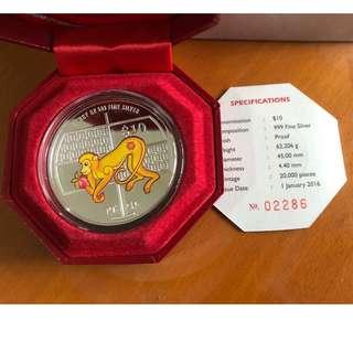 2oz 999 Fine Silver Piedfort Proof Color Coin