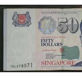 Nice number 1HL $50 Singapore Potrait Series BCCS Prefix