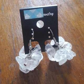 Clear quartz bunch earrings