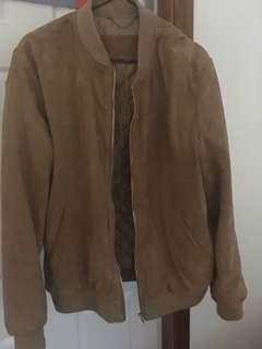 Men suede leather bomber jacket