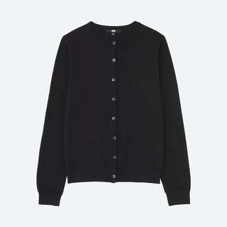 UNIQLO black women uv cut crew neck long sleeve cardigan