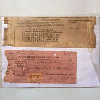 Vintage Old Invoice & Receipt dated Year 1947 with 2 Straits Settlement - Malaya King Edward 2 Cent Stamps (set of 2)