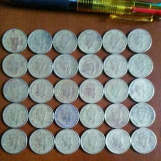 香港:硬幣👉 69年前👈👍罕有全部 男皇頭大一毫 👉全部1949年👉共30個