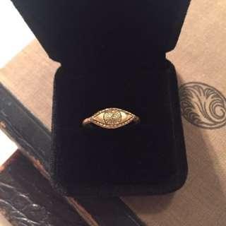 Brass Evil Eye Boho Ring