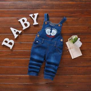 Overall Baby Unisex Adorable Foot Print Denim Blue