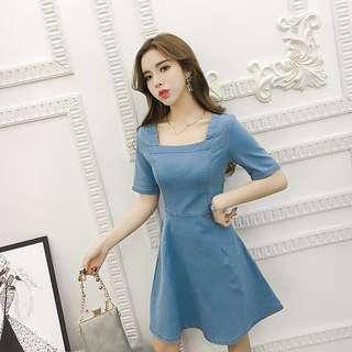 Denim Blue Coloured Square Neck With Cute Ribbon Back Dress