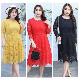 DXF1039 Plus Size Lace Dress