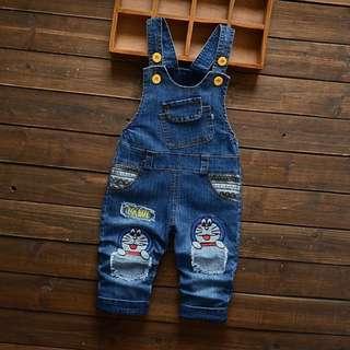 Baby Overall Embroider Design (Doraemon / Ribbon)  Denim Blue
