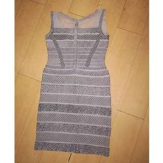 Bandage Dress Nude Mesh printed