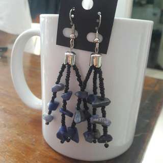 Black with blue beads fringe earrings