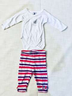 Charity Sale! Authentic Petit Bateau Baby Onesie and Striped Tights Size 3-6 months