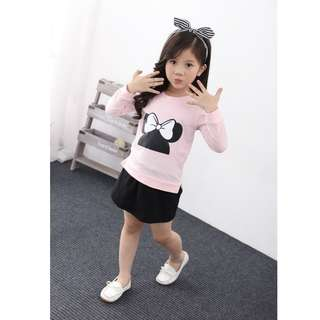 Korean Girls Long-Sleeves Shirt And Skirt Two-Piece Suit