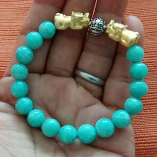 9mm Beautiful Amazonite with a Pair of Gold Plated Silver S999 Pixiu and Pixiu Ball
