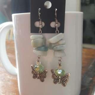 Amazonite gemstone chunks butterfly earrings