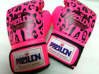 Boxing Gloves 10 oz Wolon Leopard Pink