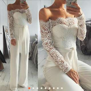 Formal white lace jumpsuit