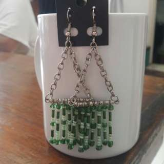 Green Beads dangling earrings