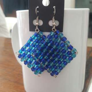 Blue beads weave earrings
