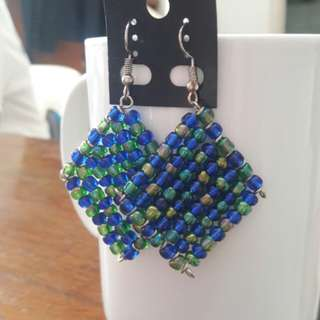 Blue-Green beads weave earrings