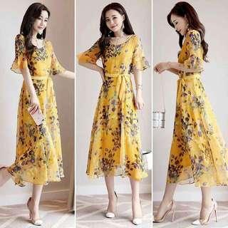 Bohemian Yellow Printed Maxi Dress