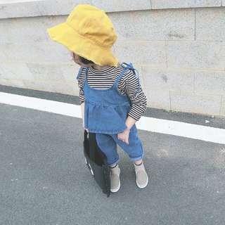 女童裝💕休閒牛仔綁帶上衣+牛仔褲兩件套