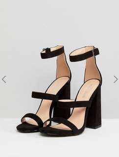 Public Desire Black Oyster Triple Strap Sandals