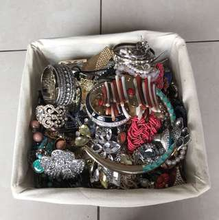 Box of rings, necklaces, bracelets, THE LOT!