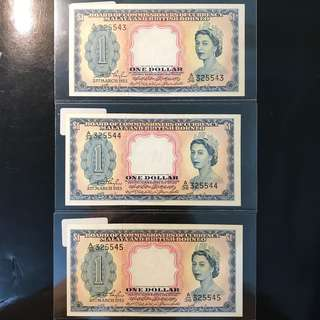 ⭐️ 1953 Malaya Queen Elizabeth II $1, A/36 325543 -  325545, 3 Pcs Run Original Paper UNC ⭐️ Strong Embossing