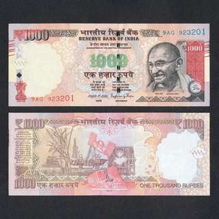 2015 INDIA 1,000 1000 RUPEES P-107c UNC *W/O PLATE LETTER*