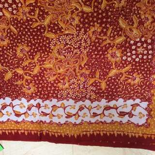 Batik Tulis Lasem Oranye Tumpal Tepi